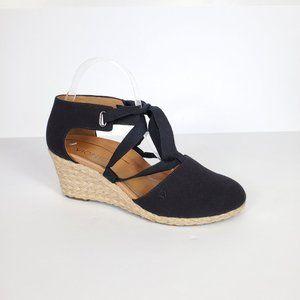 Vionic Black Espadrilles Kaitlyn Wedge Shoes, 8